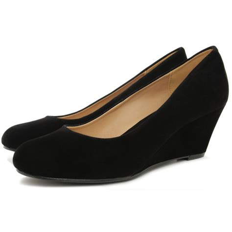 black wedge shoes black suede style court shoes buy black suede style