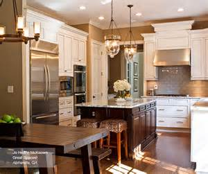 Dark Kitchen Island Off White Glazed Cabinets And Dark Kitchen Island