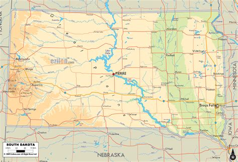 south dakota on us map physical map of south dakota ezilon maps