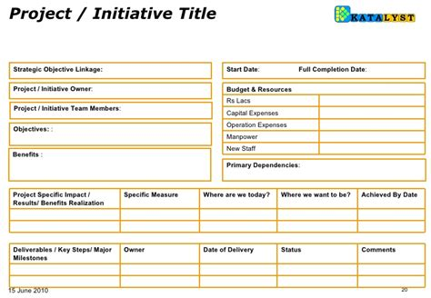 Business Initiative Template Bsc How To Fill Initiatives Templates 14 June10