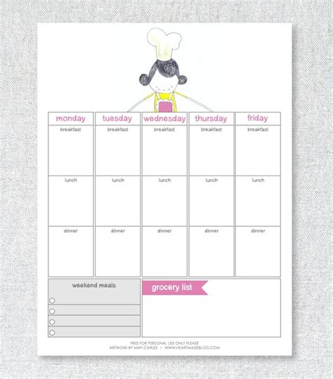 pretty printable meal planner cute weekly meal planner www pixshark com images