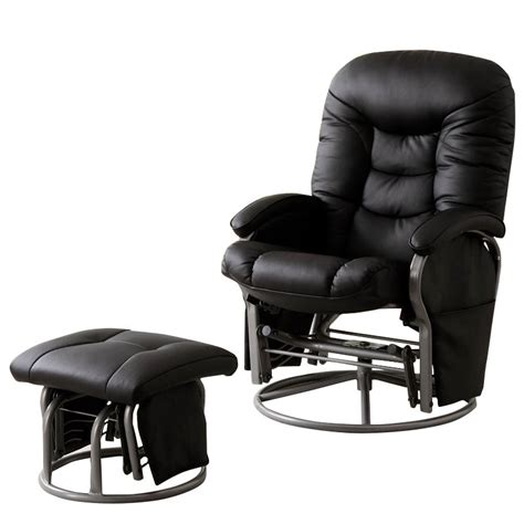 black faux leather rocker recliner coaster faux leather recliners with ottomans in black