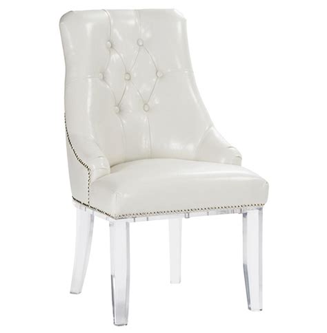 Acrylic Dining Chair by Anneau Faux Leather Acrylic Tufted Nail Dining Chair