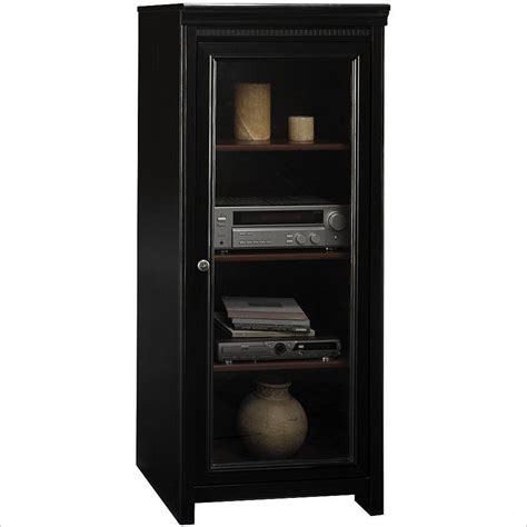 Glass Door Audio Cabinet Bush Stanford Audio Cabinet With Tempered Glass Door Ad53940 03