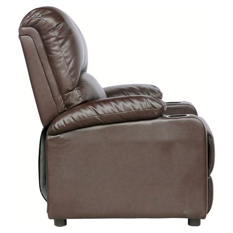 reclining sofa with drink holder kino real leather recliner w drink holders armchair sofa