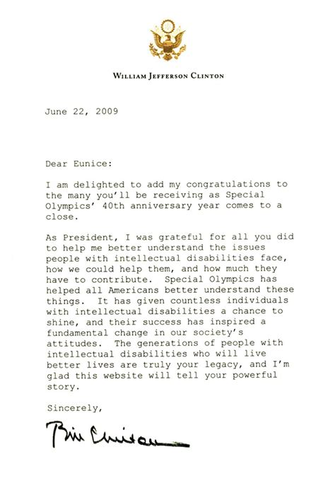 Clinton Resignation Letter by President Bill Clinton Former President Of The United States Eunice Kennedy Shriver