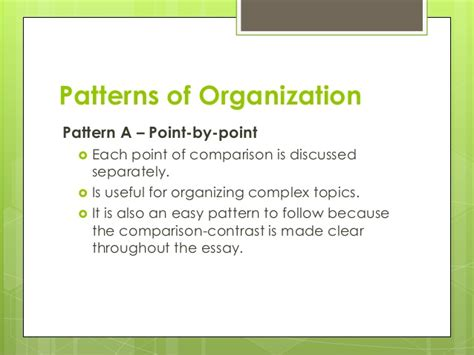 emphatic organizational pattern comparison contrast essay