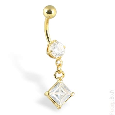 gold tone navel ring with dangling shaped