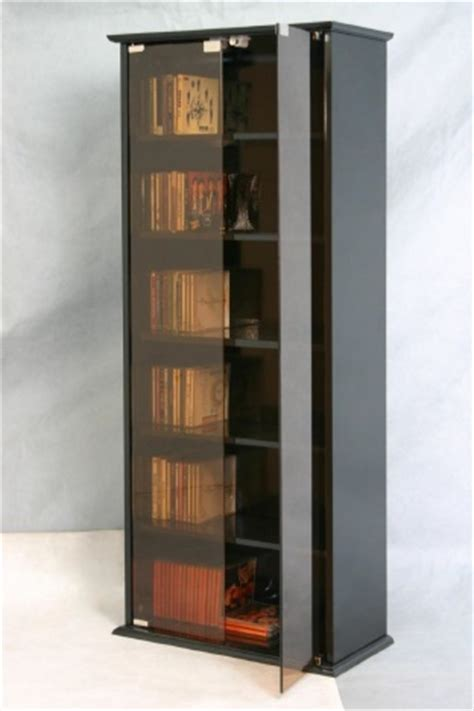 Black Dvd Cabinet With Doors Cd Dvd Storage Unit Black Cabinet Glass Door Bookcase 5 Book Shelves Ebay