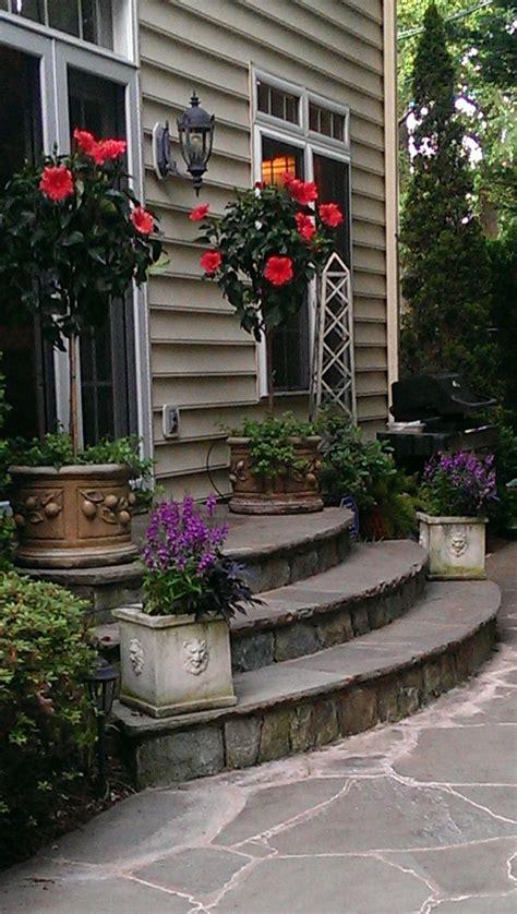 pretty exterior entrance patio stairs stone patio