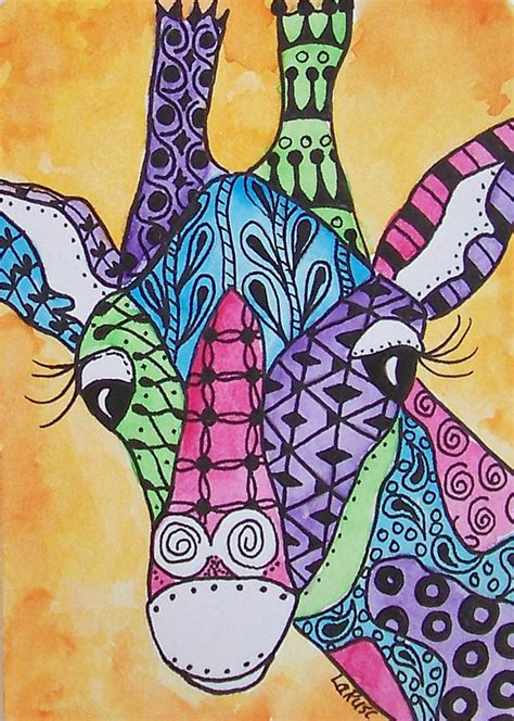 how to do doodle painting zen giraffe doodle painting by rusciolelli