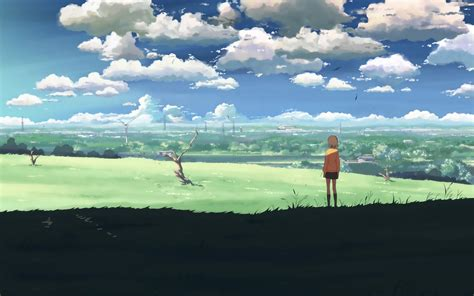 wallpaper anime landscape alone in the field full hd wallpaper and background