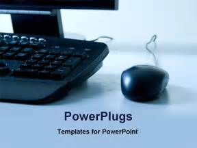 view of a computer keyboard and mouse powerpoint template