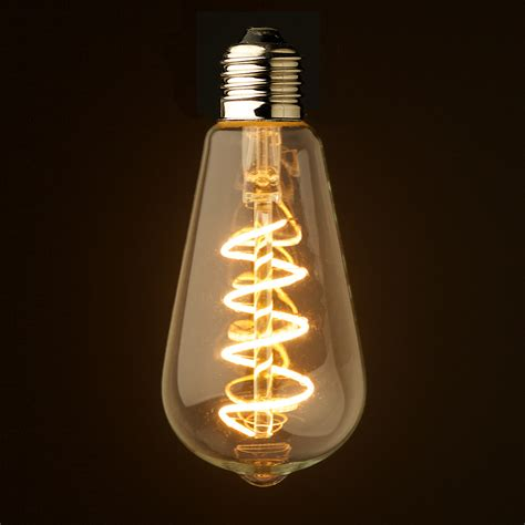 edison light bulb 3 watt dimmable spiral filament led e27 clear edison