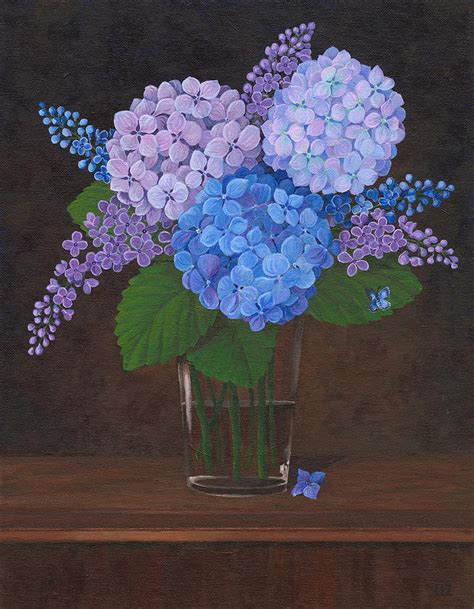 three hydrangeas in a vase painting by liz swanson