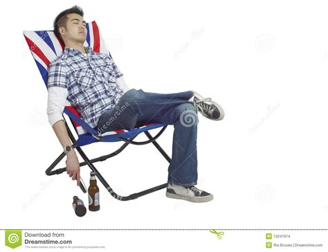 Union Jack Armchair Sleeping Man In A Chair Stock Photo Image Of Beers