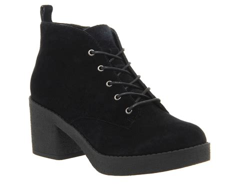 office frankie lace up casual ankle boots in black black