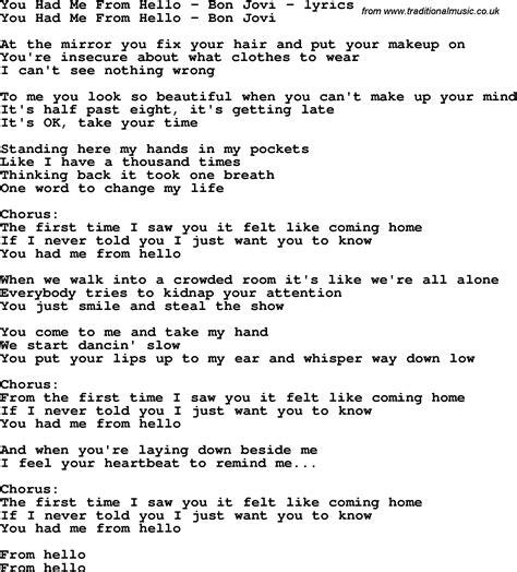 printable lyrics hello adele love song lyrics for you had me from hello bon jovi