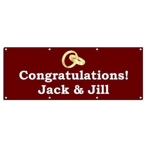 Wedding Congratulation Signs by Congratulations Wedding Custom Names 13oz Vinyl Banner