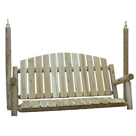 lowes patio swing shop lakeland mills 3 seat wood rustic porch swing at