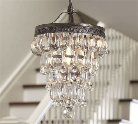small chandelier for bathroom clarissa glass drop small chandelier pottery barn
