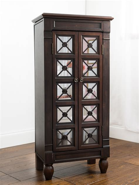 Celine Espresso Jewelry Armoire | Hives and Honey Jewelry Armoire With Mirror