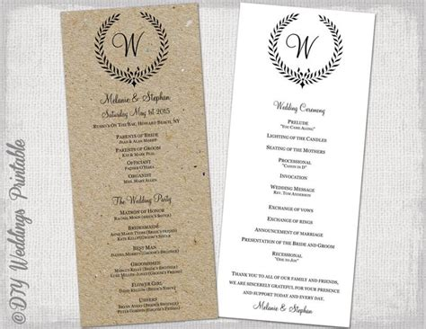 printable wedding program templates wedding program template rustic black quot leaf garland