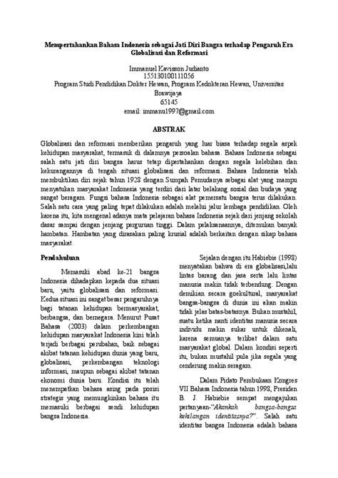 Makalah Bahasa Indonesia Sebagai Jati Diri Bangsa - Guru Paud