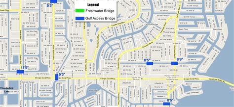 map of cape coral fl boater s information the locks and bridges of cape coral