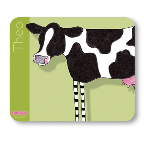 personalised cow modern placemat moo moo the cow