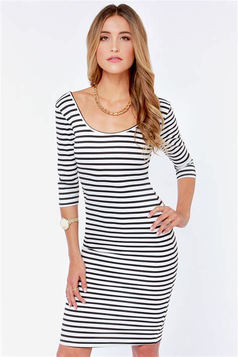 Striped Dress striped dress black and white dress bodycon dress