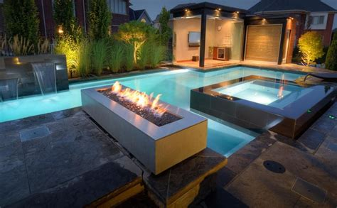 pool fire pit contemporary swimming pool with fire pit exterior stone