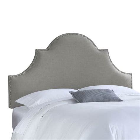 High Arch Headboard by Nail Button High Arch Notched Headboard In Linen Grey Skyline Furniture Mfg