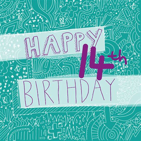 Birthday Card For 14 Year Boy Happy 14th Birthday Girl S Card By Megan Claire