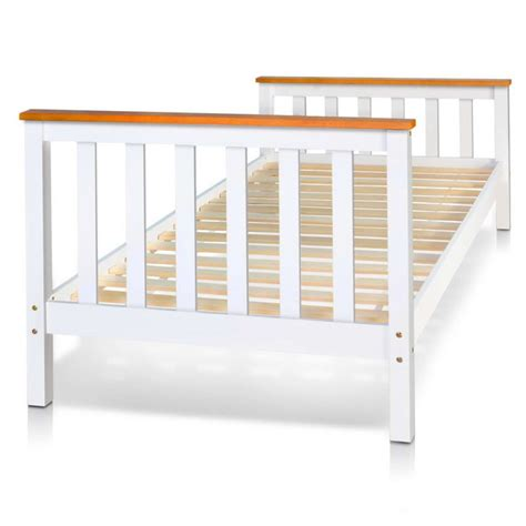 Pine Wood Timber Slat Single Bed Frame In White Buy Single Timber Bed Frame