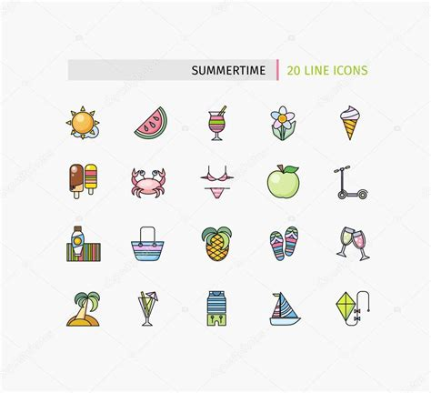 Thin Line Set Of 2 Set Of Thin Lines Icons Summertime Stock Vector 169 Robuart 82979496
