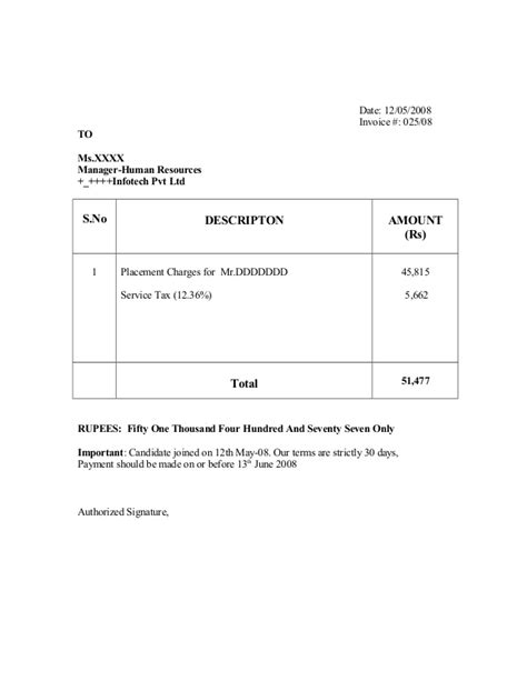 sle invoice of recruitment agency sle invoice for writing editing work how to write a