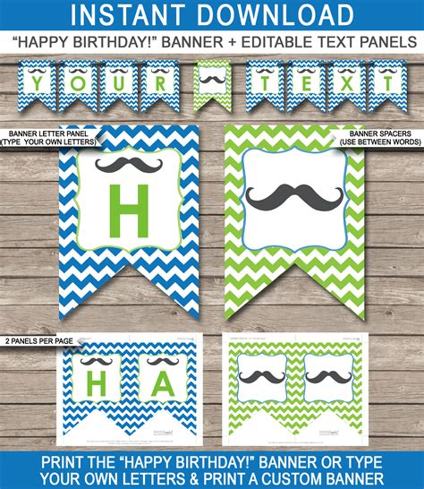 Mustache Party Banner Template Birthday Banner Editable Bunting Diy Birthday Banner Template