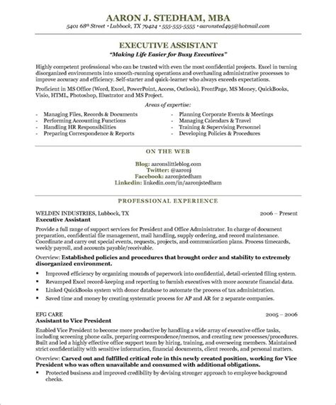 executive assistant resume sles executive assistant resume executive assistant aaron j
