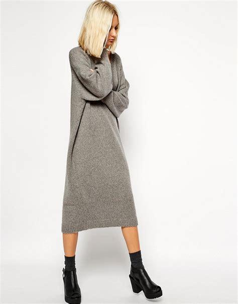grey knit dress asos white asos white oversized grey knit midi dress at asos
