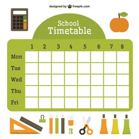 for school flat school timetable with essential accessories vector