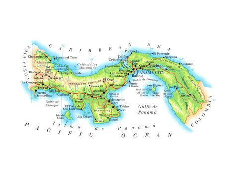 physical map of panama maps of panama map library maps of the world
