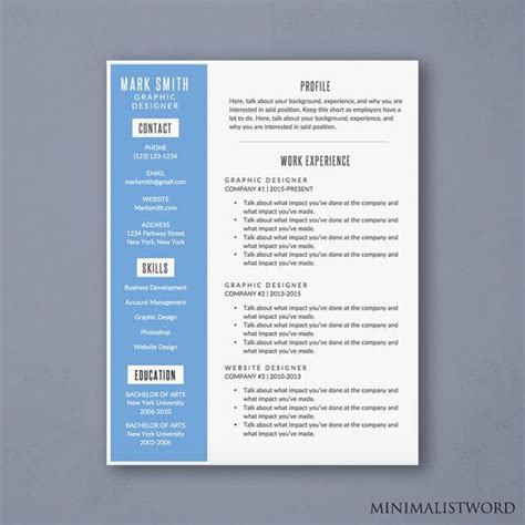 Attractive Resume Templates by Word Resume Template With Blue Sidebar Modern Resume