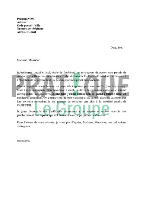 Exemple De Lettre De Demande Partenariat Lettre De Demande De Financement Du Permis De Conduire 224 L Agefiph Pratique Fr