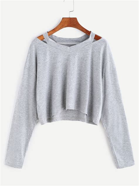 what is a neckline cut grey cut out neck crop t shirtfor women romwe