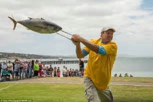 new year tossing fish tuna tossers in south australia for the annual fish