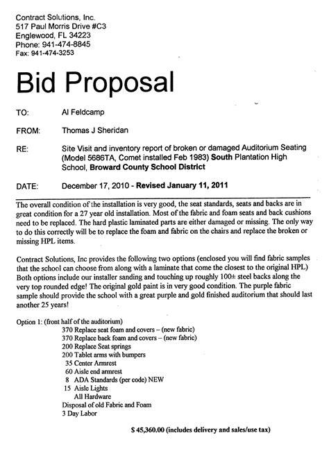 bid reviews construction format html template bid letter