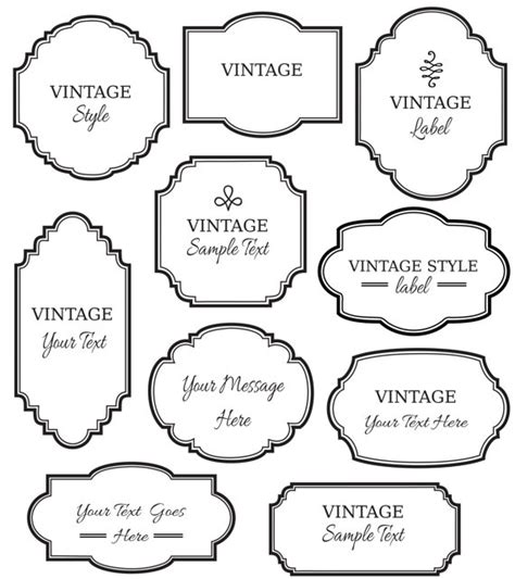 printable art tags vintage labels clip art digital frame vector eps
