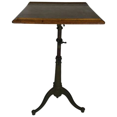 Iron Drafting Table Adjustable Oak And Cast Iron Drafting Table At 1stdibs