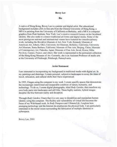 artist biography vs statement lee bovey selected document artasiamerica a digital